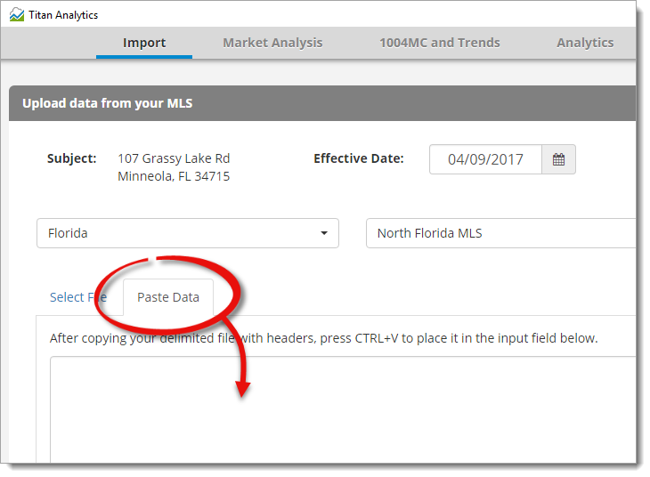 Select your MLS and import your CSV file.