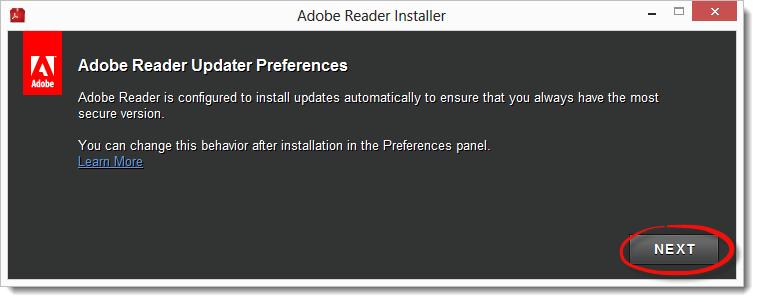 When the Adobe installer appears, click Next