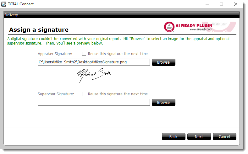 Assign a signature